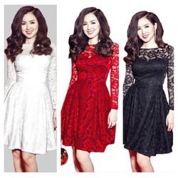Sale Khủng-Đầm Xoè Ren Hoa Tay Dài Sang Chảnh-Đ5004