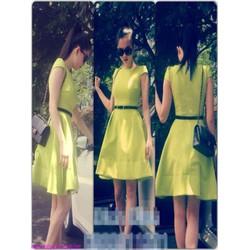 Đầm xòe tay con màu vàng sang trọng xinh như Ngọc trinh DXV235
