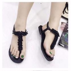 giày sandal quai T đính cườm