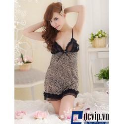 Váy Ngủ Sexy Da Báo Ren Ngực - MS335