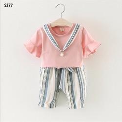 Quần áo bé gái - Set Hồng Kẻ Ngọc Trai dễ thương