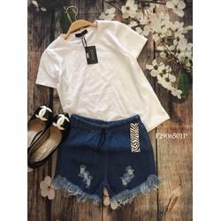 Set áo thun tay con quần jean rách lưng thun MS: S290650 Gs: 105K