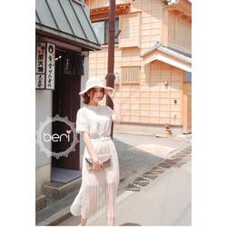 Set Áo ren Chân váy ren  hình lá BERI trắng