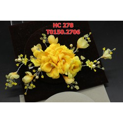 Cài tóc cô dâu hoa vải màu vàng tươi