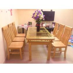 Bộ bàn ghế ăn gỗ sồi 6 ghế ,bàn 2 tầng