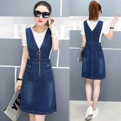 Đầm jean yếm cutout