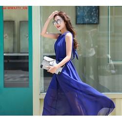 Đầm maxi voan cổ yếm thắt nơ xinh đẹp nổi bật uDMX373