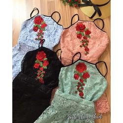 Set váy xoè ren áo yếm kết hoa _MÕ CHU SHOP