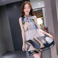 Đầm Suông Họa Tiết Cột Nơ DA536
