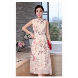 Đầm maxi voan hoa cổ trụ