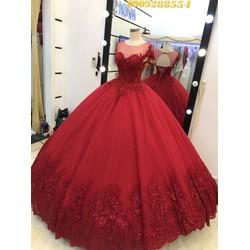 áo cưới đỏ đô đuôi dài 1m chup hinh bao đẹp giá mềm rẻ chất lượng