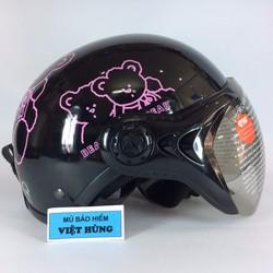 Mũ bảo hiểm GRS A31K đen bóng tem gấu