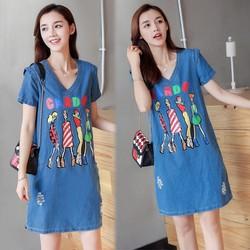 Đầm Jean Suông Four Girls Phối 2 túi Thời Trang - TP1261
