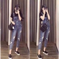 Quần yếm jean dài nữ