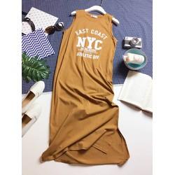 Đầm Maxi cotton sát nách in chữ NYC