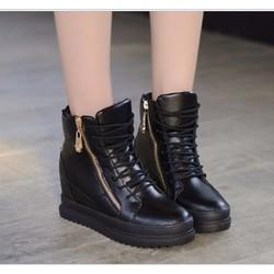 Giày bata đế độn dây kéo vàng