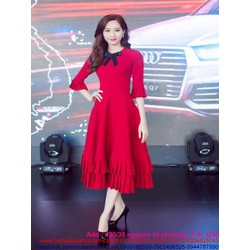 Đầm xòe đỏ dự tiệc nổi bật thiết kế lai bèo xinh đẹp DXV173