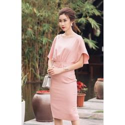 Đầm Công Sở Tay Cánh Tiên Đẹp Như HH Mỹ Linh - Hồng