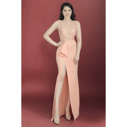 Đầm dạ hội cao cấp xẻ tà quý phái Quyến Rũ hàng nhập