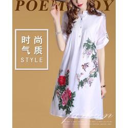 [FUNNY] Đầm Sơ Mi Họa Tiết Hoa Lá Duyên Dáng