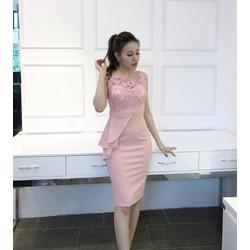 Đầm body pha ren