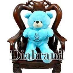 Gấu bông Teddy Angel ôm tim hàng VNXK màu xanh dương khổ 1m2-