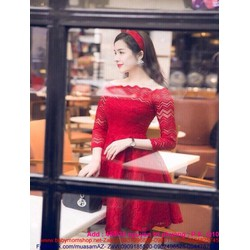 Đầm xòe đỏ sang trọng thiết kế bẹt vai xinh xắn DXV166