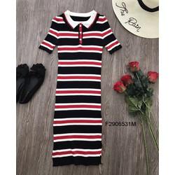 Đầm body len sọc màu cổ bẻ hàng nhập-MS: S290676 Gs: 135K