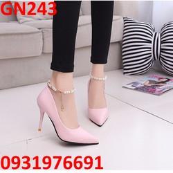 Giày cao gót tiểu thư quai đeo chân châu - GN243
