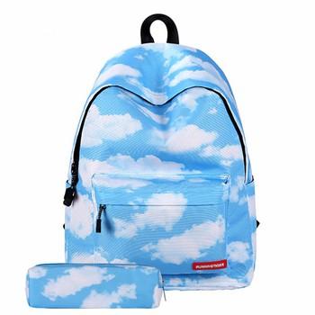 Ba lô đi học nữ họa tiết bầu trời tặng ví