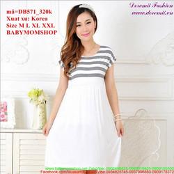 Đầm bầu Hàn Quốc tay con phối sọc trẻ trung sành điệu zzDB571