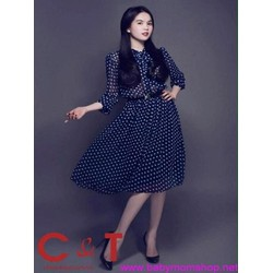Đầm xòe dài họa tiết chấm bi xinh như Ngọc trinh DXV220