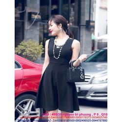 Đầm đi tiệc thiết kế xòe xinh đẹp màu đen phối nơ sau DXV168