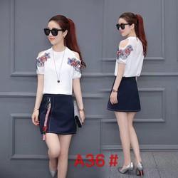 Bộ áo sơ mi và chân váy - hàng Quảng Châu cao cấp