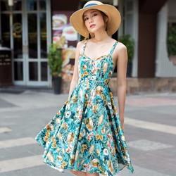 Đầm maxi hoa chéo dây lưng