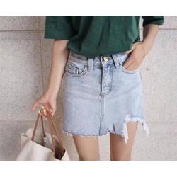 Chân váy jeans rách cá tính