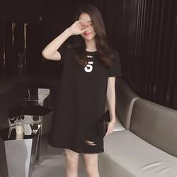 Đầm suông nữ ngắn tay logo số 5 cá tính