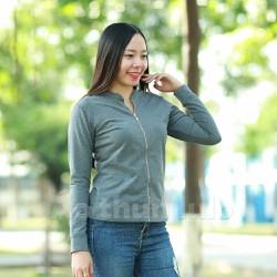 Áo thun nữ cổ lãnh tụ dây kéo dài - Tay dài - Xám đen