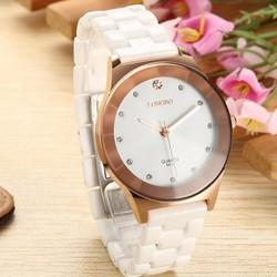 Đồng hồ nữ LONGBO dây đá Ceramic GE135 Trắng đồng