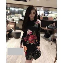 Đầm body tay dài in hoa