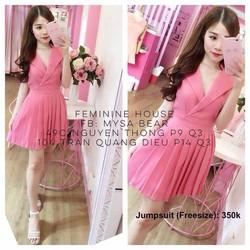 Đầm xòe thiết kế cổ vest- 1094321