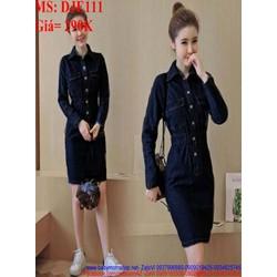 Đầm jean nữ công sở dài tay kiểu giá túi ôm eo thời trang DJE111