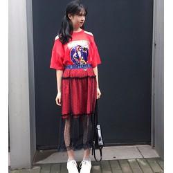 chân váy midi lưới chấm bi Mã: VN561