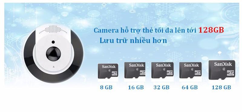 Camera mắt cá 360 độ + thẻ nhớ 32GB 8