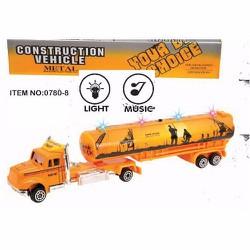 đồ chơi xe công trình, xe bồn vàng 25cm, có nhạc đèn, chạy trớn