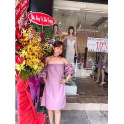 Đầm  suông trể vai  tay bèo