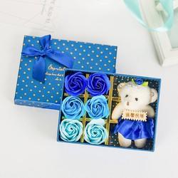Hộp quà gấu và hoa hồng sáp 6 bông màu Xanh dương bởi WinWinShop88