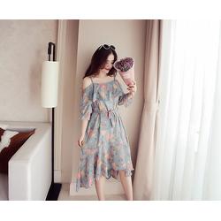 Đầm maxi chiffon họa tiết đi biển - #02117