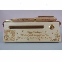 Hộp bút bi gỗ xoay phong cách