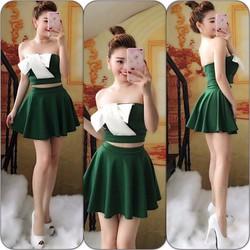 Set váy xòe áo nơ cúp ngực- 1094350